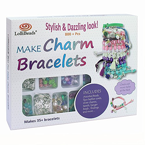 LolliBeads (TM) Make Charm Bracelets Kits 800 + pcs Premium Bracelet Jewelry Making Kit Arts and Crafts for Girls Best Birthday/Christmas Gifts/Toys/DIY for Kids Friendship Bracelets Maker - Charm Bracelet Craft Kit