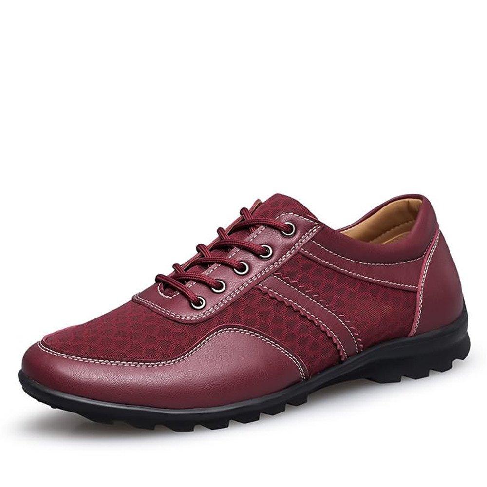 Shufang-shoes, Zapatos Mocasines para Hombre 2018 Los Hombres de conducción Loafer Flat Heel Lace Up Color sólido British Style Splice Vamp Zapatos de Moda (Color : Red Wine, tamaño : 46 EU) 46 EU|Red Wine