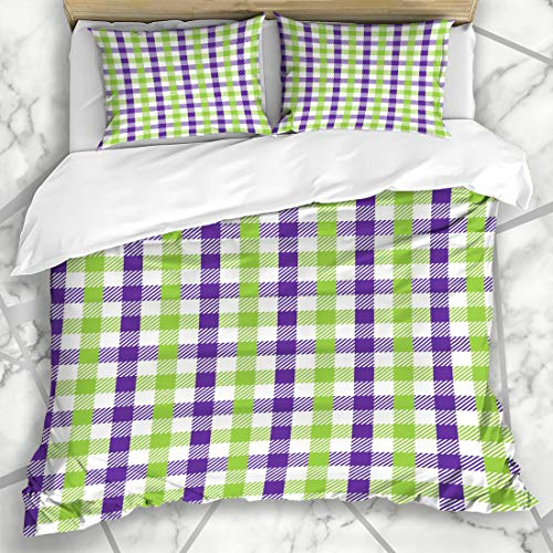 Ahawoso Duvet Cover Sets King 90x104 Green Purple Celebration Multicolour Gingham Pattern Lime Unusual Abstract Check Checkered Chevron Microfiber Bedding with 2 Pillow Shams ()
