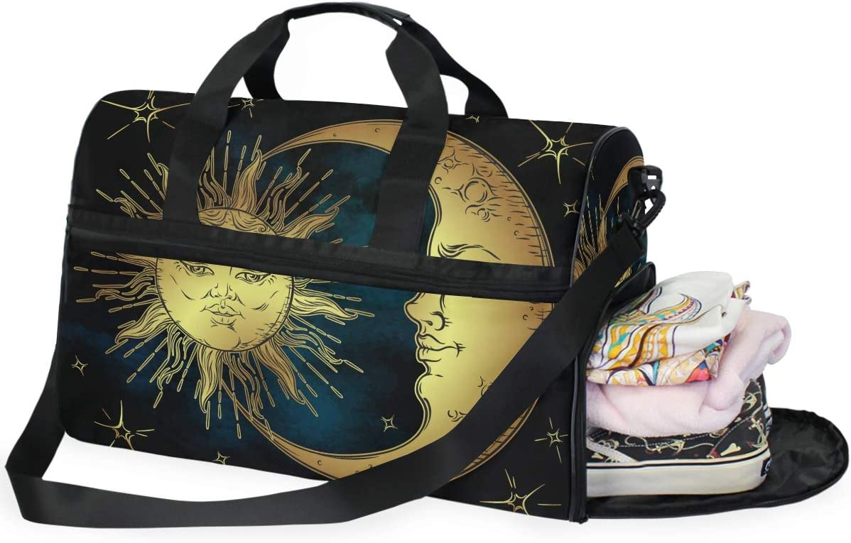 FAJRO Gym Bag Travel Duffel Express Weekender Bag Art Sun And Moon Face Carry On Luggage with Shoe Pouch