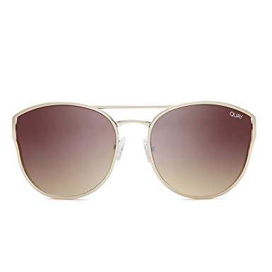 c515de54e0 Quay Australia CHERRY BOMB Women s Sunglasses Large Round Cat Eye - Gold  Brown