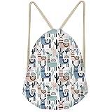 CLOHOMIN String Gym Shoulder Bag Animal Llama Alpacas Cute Women Girl Gymsack Drawstring Backpack Back School Gift