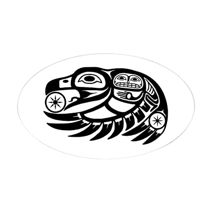 884488e9 CafePress Raven Native American Design Sticker (Oval) Oval Bumper Sticker,  Euro Oval Car Decal