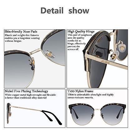 c2f988da6de ... JOJEN Semi Rimless Cateye Polarized Sunglasses for Women Metal TR90 Frame  JE015(Floral Frame Grey Lens ...