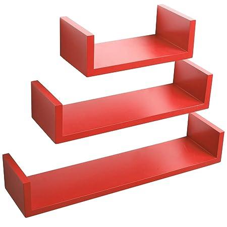 WOLTU Floating Shelves Coral Red Set Of 3 U Shaped CD DVD Toys Storage
