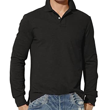c1ee79c0b15 Image Unavailable. Image not available for. Color  Snowfoller Fashion Polo  Shirt Autumn Men Long Sleeve Plain T-Shirt Casual Slim Office Business