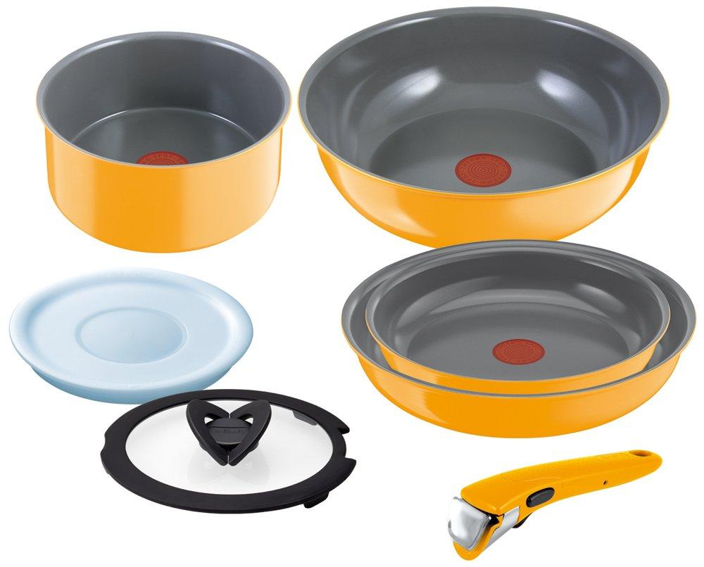 T-fal Pot & Frying Pan Set Igenio Neo Detachable Handle IH Ceramic Control Set 7 L25290