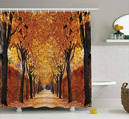 Ambesonne Nature Shower Curtain by, Fall Road in Park Autumn Leaves Distance Perspective Foliage Forest Theme, Digital Print Polyester Fabric Bathroom Set, Orange Brown -