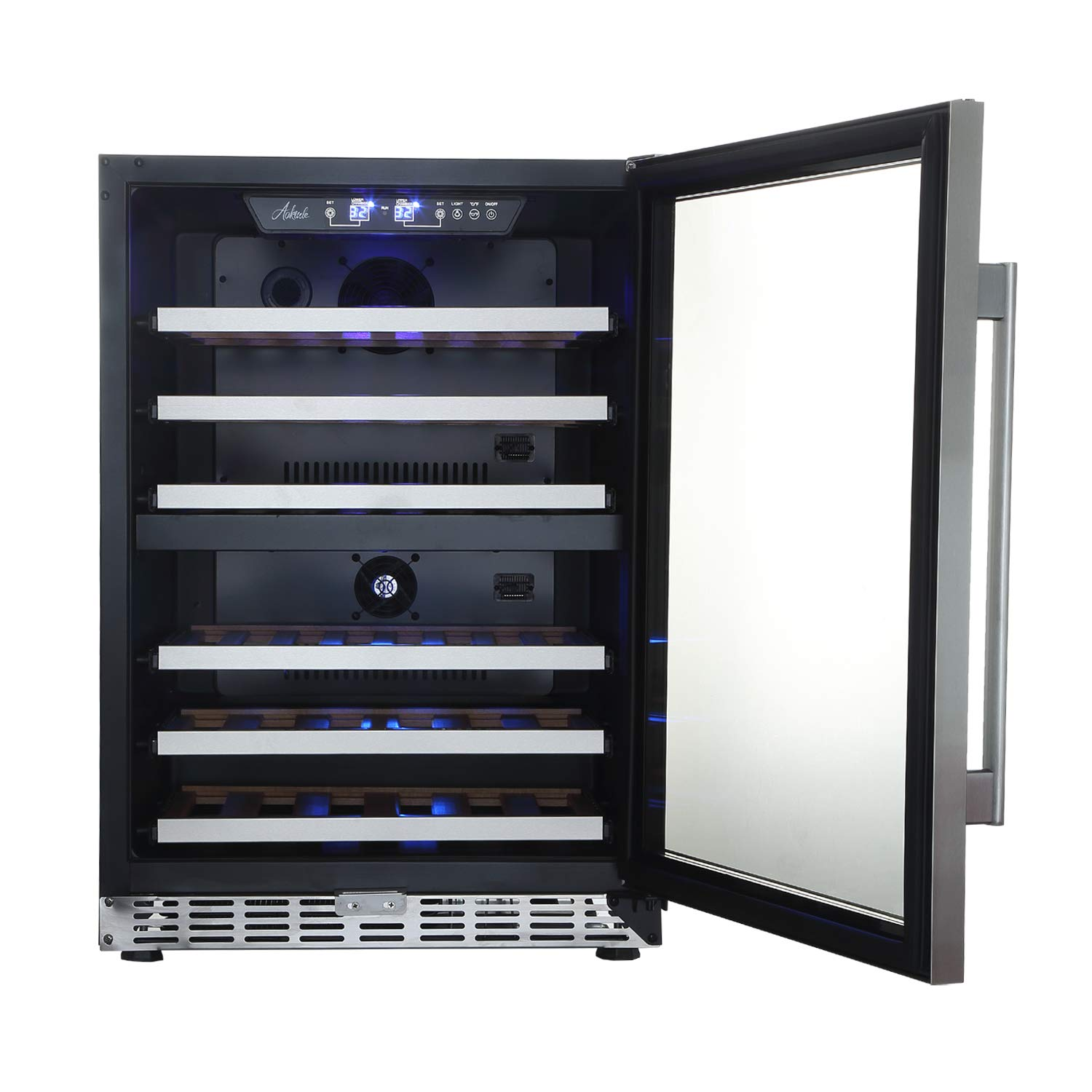 "24"" Wine Cooler 44 Bottle Built-in&Freestanding,Dual Zone Compressor Wine Refrigerator,Stainless steel&Double-Layer Tempered Glass Door,Touch Control,Temperature Memory Function"