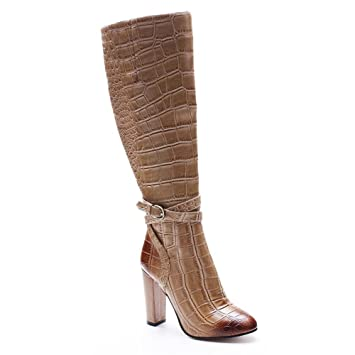975cd150347 Women Ladies Over Knee Thigh Knight Boots Rough High Heel Shoes Brown  Crocodile Pattern Round Head
