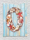XHFITCLtd Letter O Tapestry, Nautical Life Font Design O Circle on Vertical Worn Wood Planks, Wall Hanging for Bedroom Living Room Dorm, 60 W X 80 L Inches, Pale Blue Ivory Dark Coral