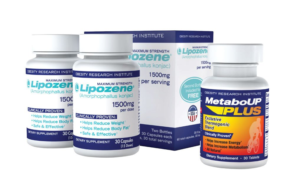 Lipozene Weight Loss Pills 2x30 Count Bottles with 30 Count MetaboUp Plus by Lipozene