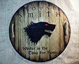 Personalized decor sign inspired by ''A Song of Ice and Fire'' fantasy novels | Wooden aged shield with your chosen embossed sigil, name and words | Handmade, custom gift | Rustic wall decor