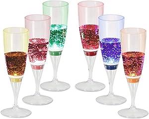 Signstek 6 Set LED Light Wine Flute Light Up Liquid Activated Champagne Glasses