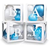 Keencopper Elephant Baby Shower Decorations for Boy Or Girl, 4 Pcs Baby Blocks Clear Balloon Boxes with BABY, A-Z Letters for