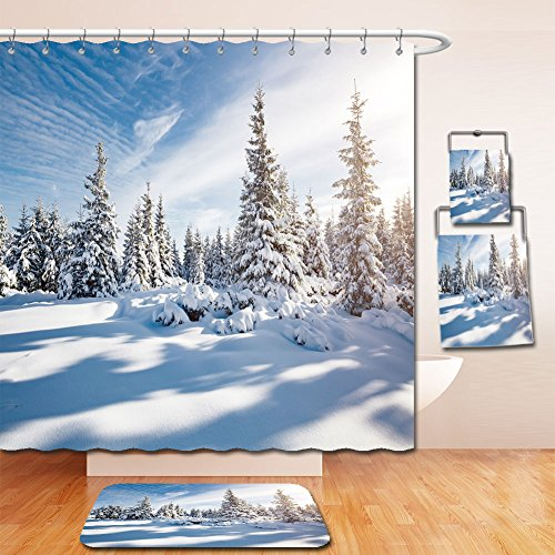Beshowereb Bath Suit: Showercurtain Bathrug Bathtowel Handtowel majestic white spruces glowing by sunlight picturesque and gorgeous wintry scene location place - Locations Macy's Denver