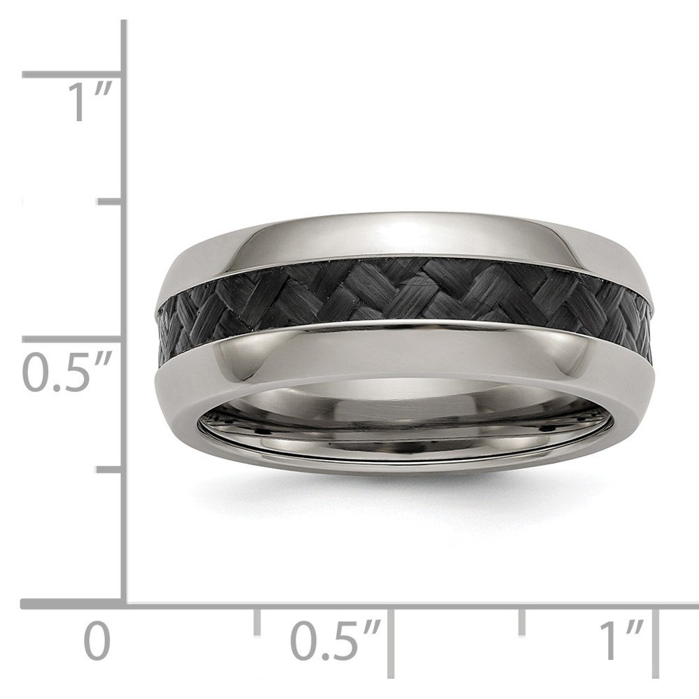 Wedding Bands Classic Bands Comfort Fit Edward Mirell Stainless Steel Black Carbon Fiber 8mm Band Size 9
