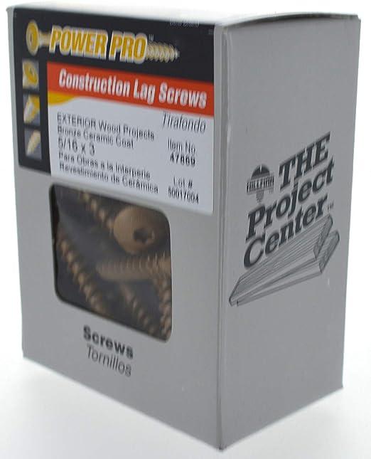 Power Pro Construction Lag Screw 60-Pk. Bronze Ceramic 6 x 5//16-In.