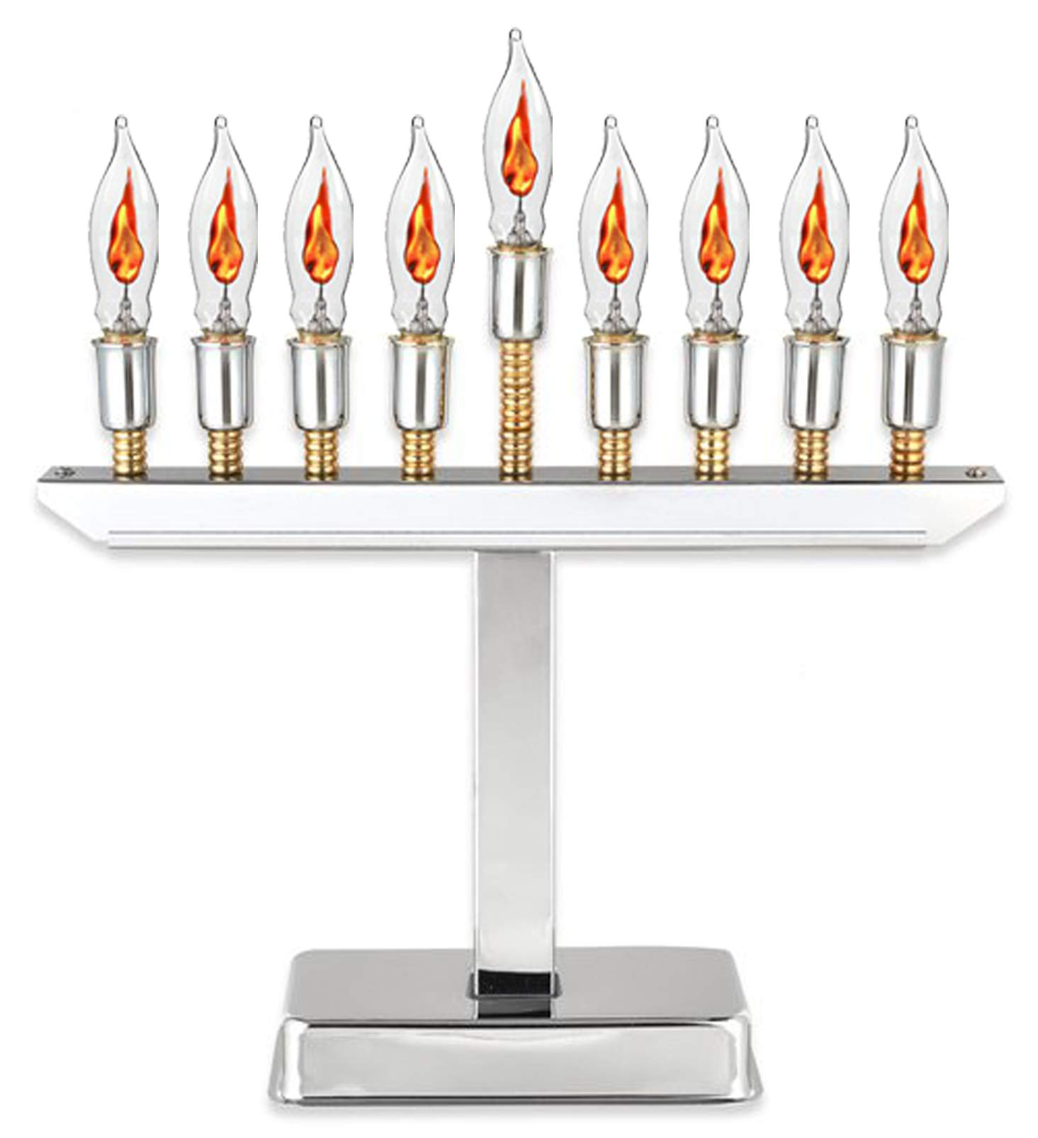 Electric Menorah Highly Polished Chrome Plated With Gold Accents