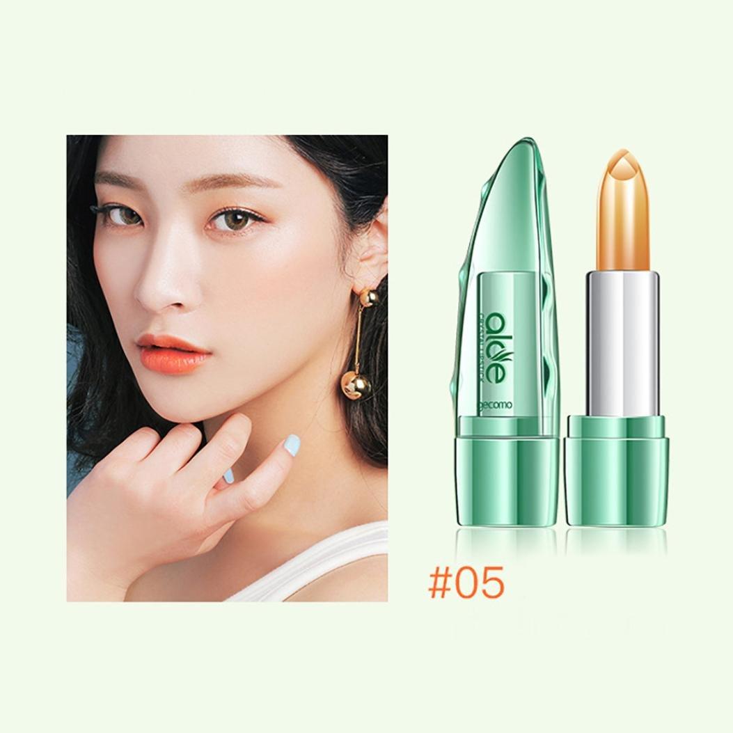 Alonea Jelly Lipstick, Organic Aloe Vera Jelly Crystal Lipstick Change Color Temperature Moistourizing Lip Stick (5#)