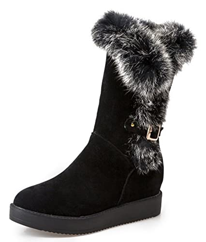 Women's Warm Faux Fur Buckle Hidden Wedge Heels Platform Mid Calf Snow Boots