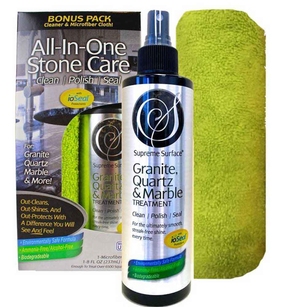 Supreme Surface Granite & Quartz, Cleaner, Polish and Sealer with ioSeal Protectants by Supreme Surface