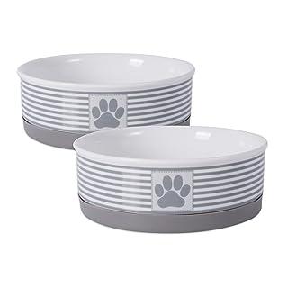 DII Paw Patch & Stripes Ceramic Pet Collection, Medium Bowl Set, Gray 2 Piece