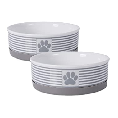Bone Dry DII Square Ceramic Pet Bowl for Food & Water with Non-Skid Silicone Rim for Dogs and Cats