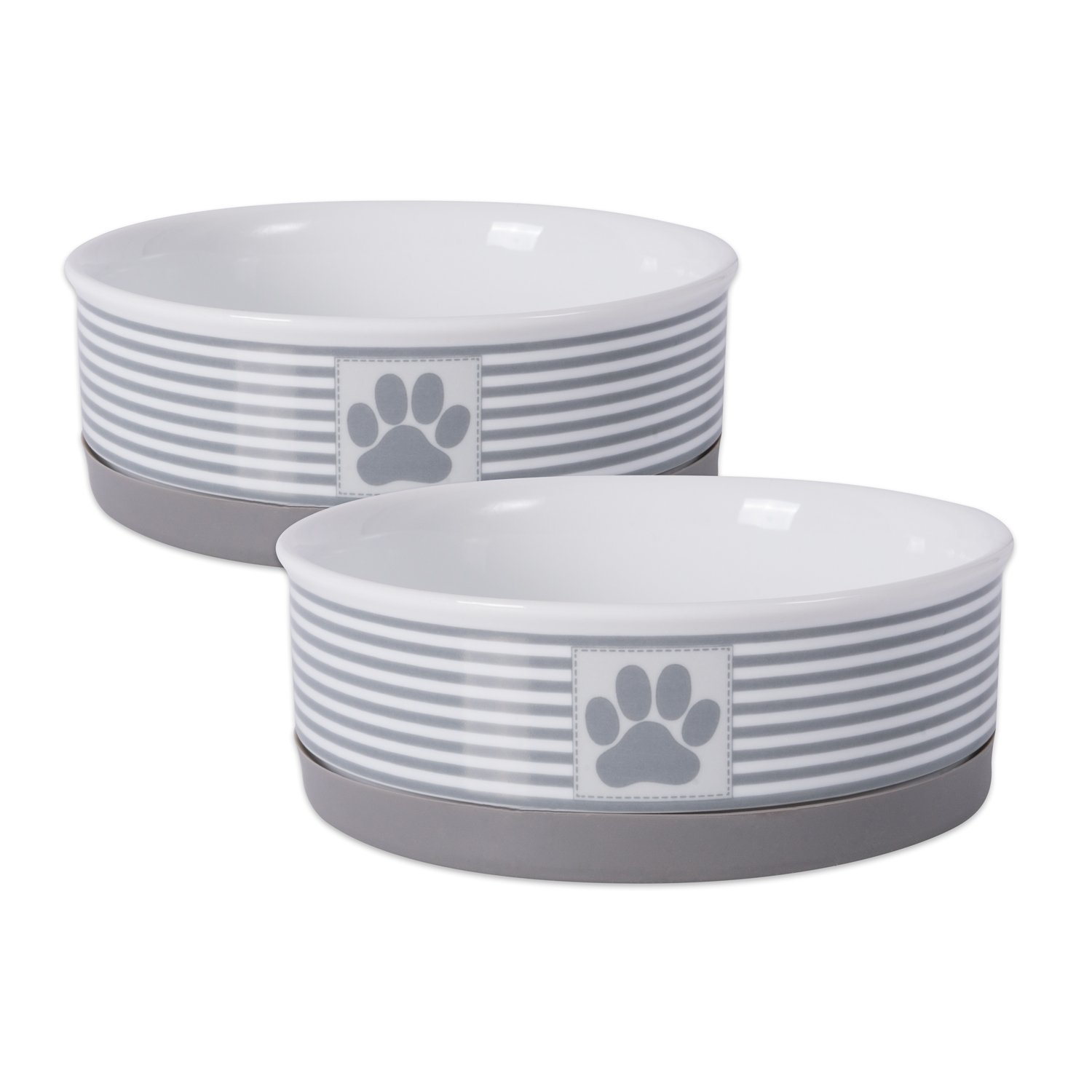 DII Bone Dry Paw Patch & Stripes Ceramic Pet Bowl for Food & Water with Non-Skid Silicone Rim for Dogs and Cats (Medium - 6'' Dia x 2''H) Gray - Set of 2