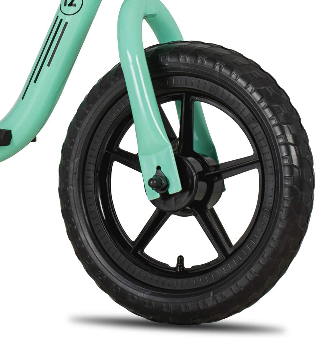 JOYSTAR 10//12 Kids Balance Bike with Footrest for Girls /& Boys Toddler Push Bike with Airless Tire and Adjustable Seat Height Ages 18 Months to 5 Years Black Blue Green Pink