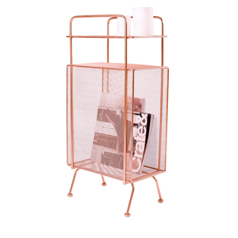 AO Iron Floor Racks Bedroom Bedside Living Room Storage Shelf Sandwich Multi-Layer Magazine Shelf Nordic Ins Wind Storage Storage Dual-use Flower Stand 34X20X70cm (Color : Rose Gold)