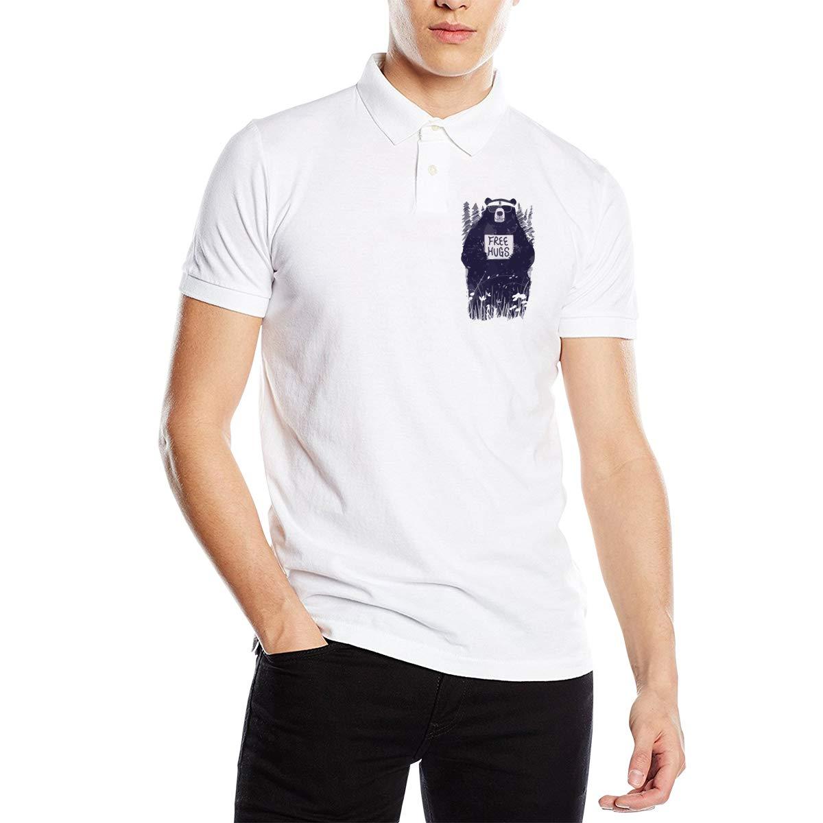 Free Hugs Bear Mens Short Sleeve Polo Shirt Classic-Fit Blouse Sportswear