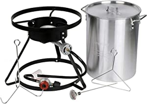 Brands Republic Propane Turkey Fryer with Cooking Stand, Gas Single Burner, Aluminum Pot, Hose, Probe Thermometer, and Poultry Hanging Accessories, Includes Cajun Injector
