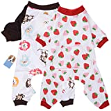 2-Pack Dog Clothes Dogs Cats Onesie Soft Dog Pajamas Cotton Puppy Rompers Pet Jumpsuits Cozy Bodysuits for Small Dogs and Cat