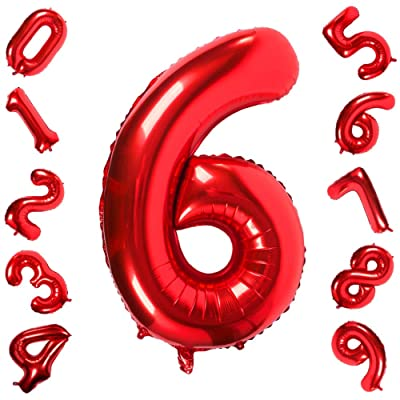 42 Pulgadas Grandes Globos Rojos Números 6, Jumbo Foil Helium Globos Digitales para Cumpleaños Fiesta de Aniversario de Boda Festival Decoraciones: Hogar