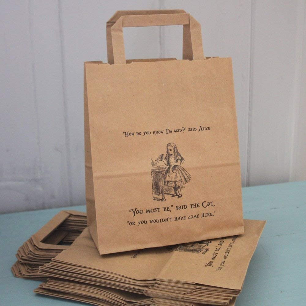 Alice in wonderland themed mystery bags