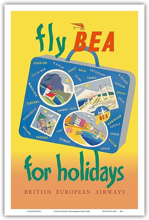 BEA Switzerland British European Airways Vintage Airline Print Old Advert Poster