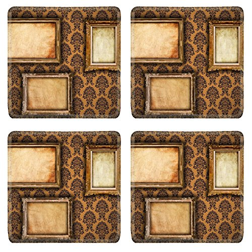 Liili Square Coasters IMAGE ID 9094838 Gilded frames on vintage damask style wallpaper background and grunge retro paper inserts