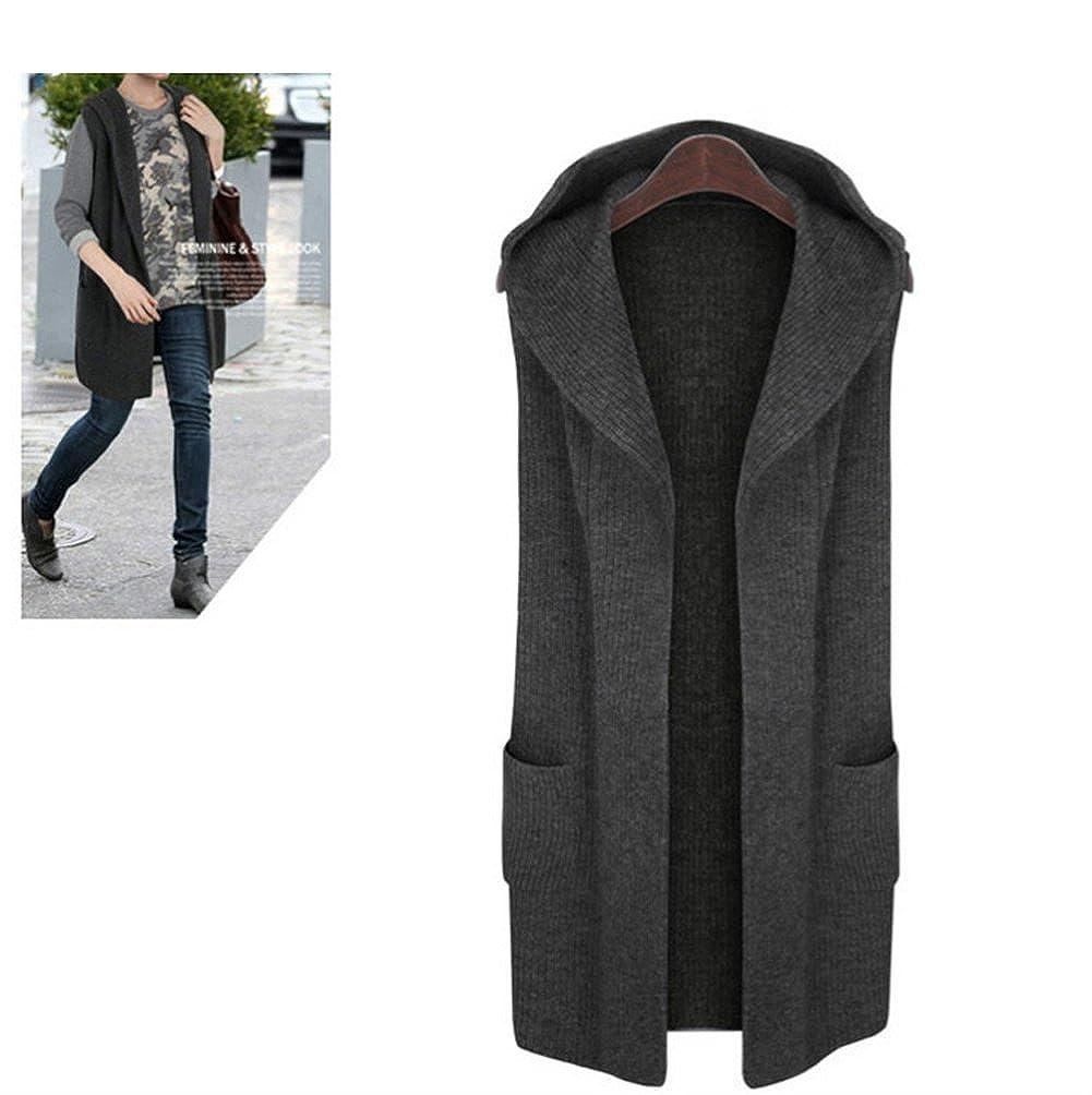 Kedera Women Open Front Knitted Sleeveless Hoodie Waistcoat Tops Cardigan Jacket Vest