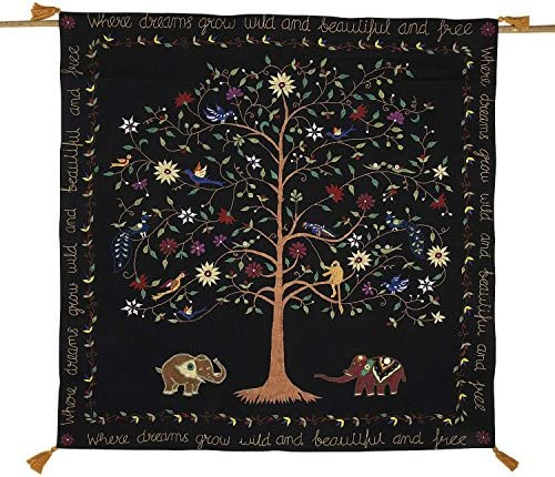 Ten Thousand Villages Embroidered Cotton Hanging Dreamscape Featuring Tree of Life, Flowers, Monkeys, Peacocks, Birds, Elephants 39 x39 Dream Tree Wall Hanging