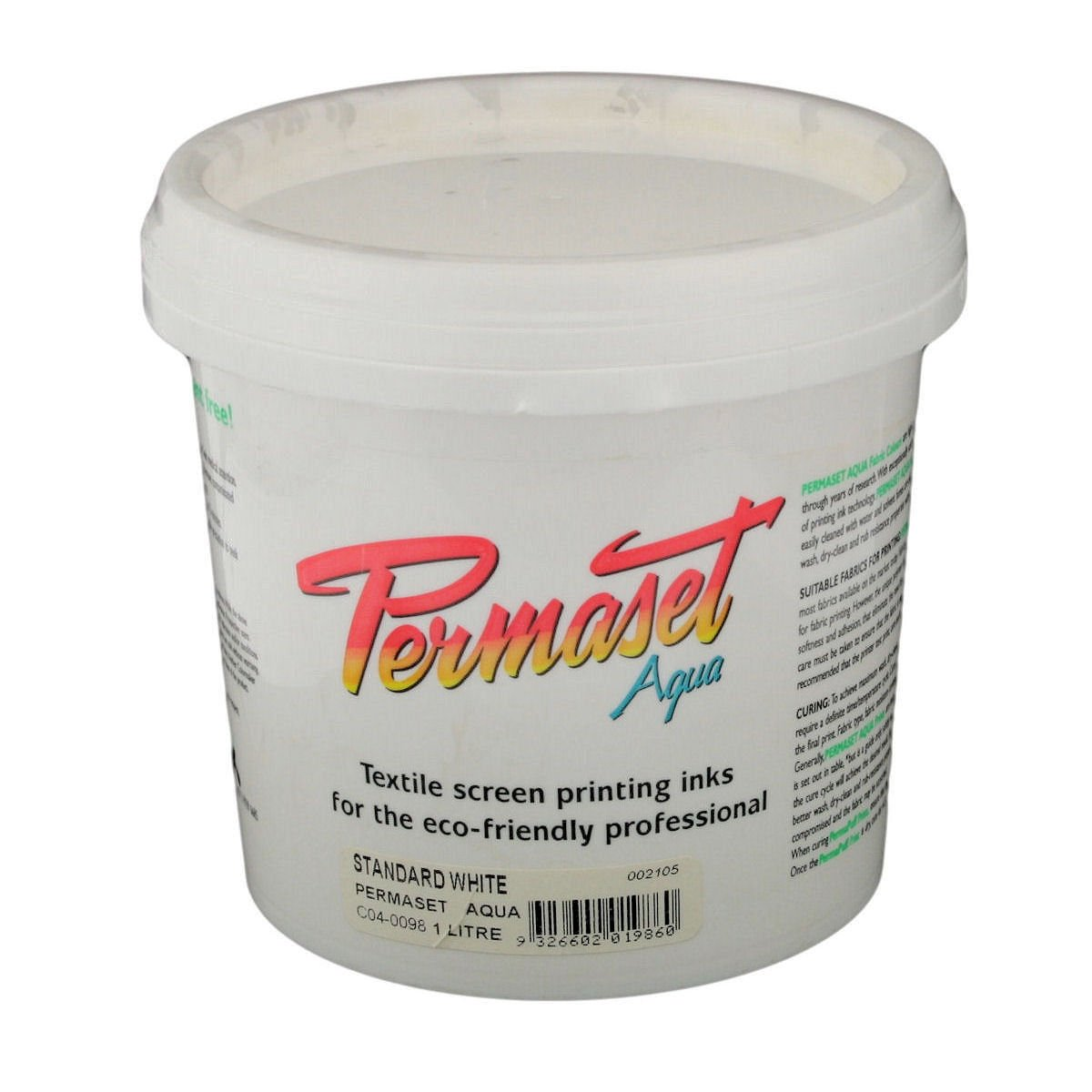 Permaset Aqua 1 Litre Fabric Printing Ink - Standard White Colormaker SR002105