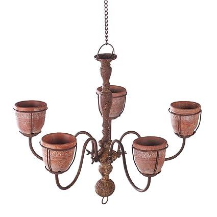 Amazon chandelier planter with 5 cement indooroutdoor hanging chandelier planter with 5 cement indooroutdoor hanging flower pot basket aloadofball Images
