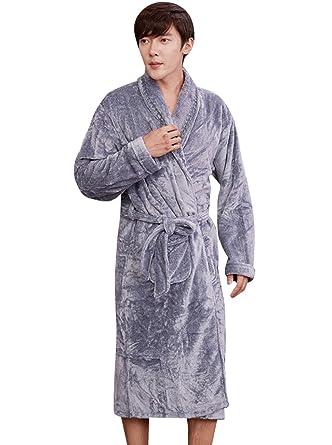 Nueking Thermal Flannel Cozy Long Fleece Robes Bathrobe for Men Grey Large 015f58f6b