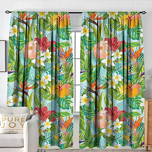 (NUOMANAN Living Room Curtains Leaf,Vintage Cartoon Style Image of Hawaiian Flowers Crepe Gingers,Blue Light Green Orange and Pink,Darkening and Thermal Insulating Drapes 54