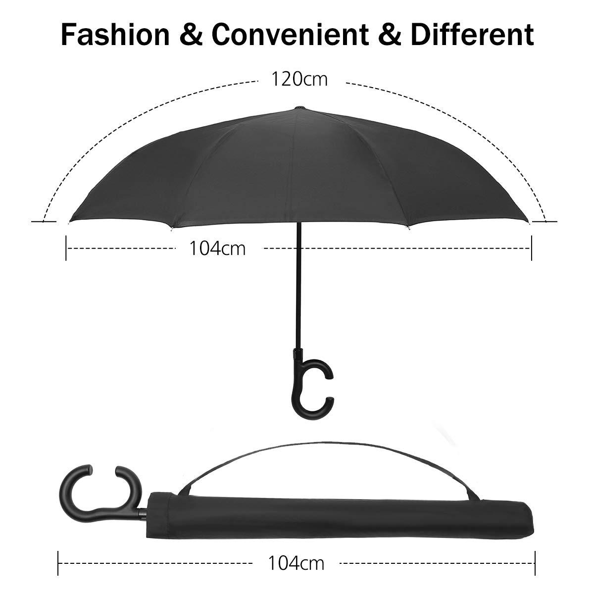 Pathonor Parapluie Invers/é Auto Ouvert Parapluie Canne Anti-UV Double Couche Parapluie Canne Mains Parapluie Automatique