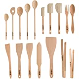Uulki® 17 pieces Eco-friendly Cooking Utensils Tools Set from European Beechwood: Wooden Cooking spoons, Food turners, Baking Spatulas, Food BBQ tongs, Salad Servers .)