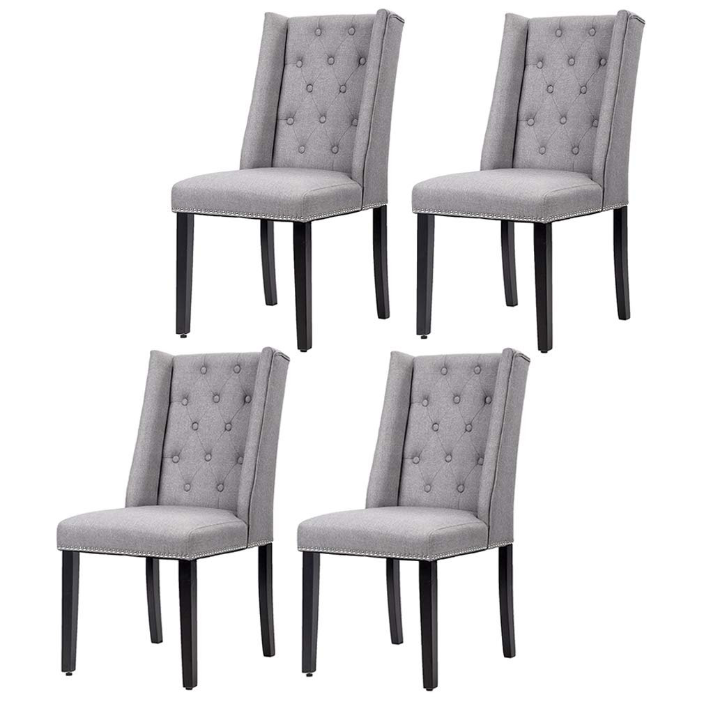 PayLessHere Set of 4 Elegant Dining Side Chairs Button Tufted Fabric w Nailhead (Gray Set of 4)