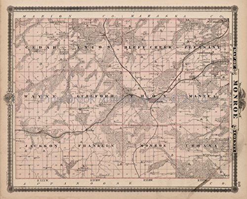 - Monroe Lucas County Iowa Map Antique Andreas 1875 Authentic Decor History Ancestry Housewarming Gift