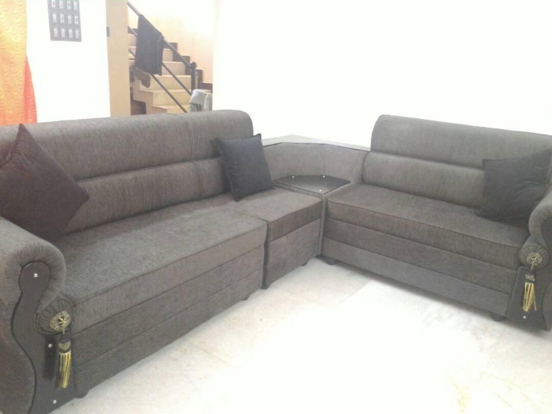 FARNBRO Beautiful Design Wooden L Shape Corner Sofa Set For Living Room(Grey): Amazon.in: Home & Kitchen
