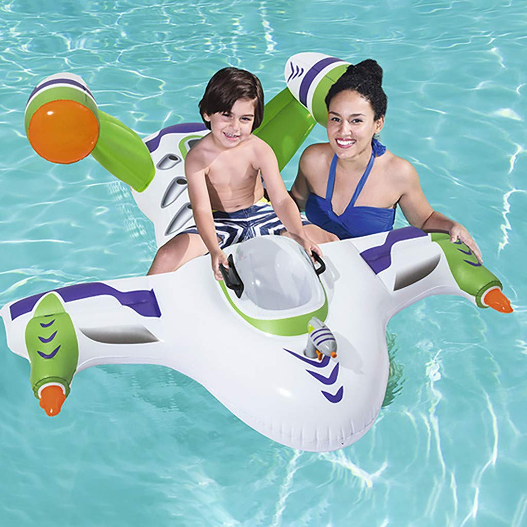 Pool Floats for Children Toy Story Rider Plane Fighter Pool Toys for Kids Boys Girls Inflatable Ride-On Plane Swim Float Ins Pool Floats by FGDJEE